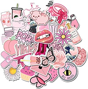 Sticker for Water Bottle Laptop Pink 50pcs, Waterproof Lovely Stickers Vinyl for Trendy Kids/Teen Computer Skateboard Luggage Decal Graffiti Patches Decal (Pink)