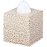 KAMIERFA Fashion Cube Form PU Leather Tissue Holder for Home Office Car Gold Carving