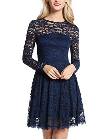 c356bcc7a0394 Women Round Neck Long Sleeve Pleated Lace Slim Dress Navy Blue Small