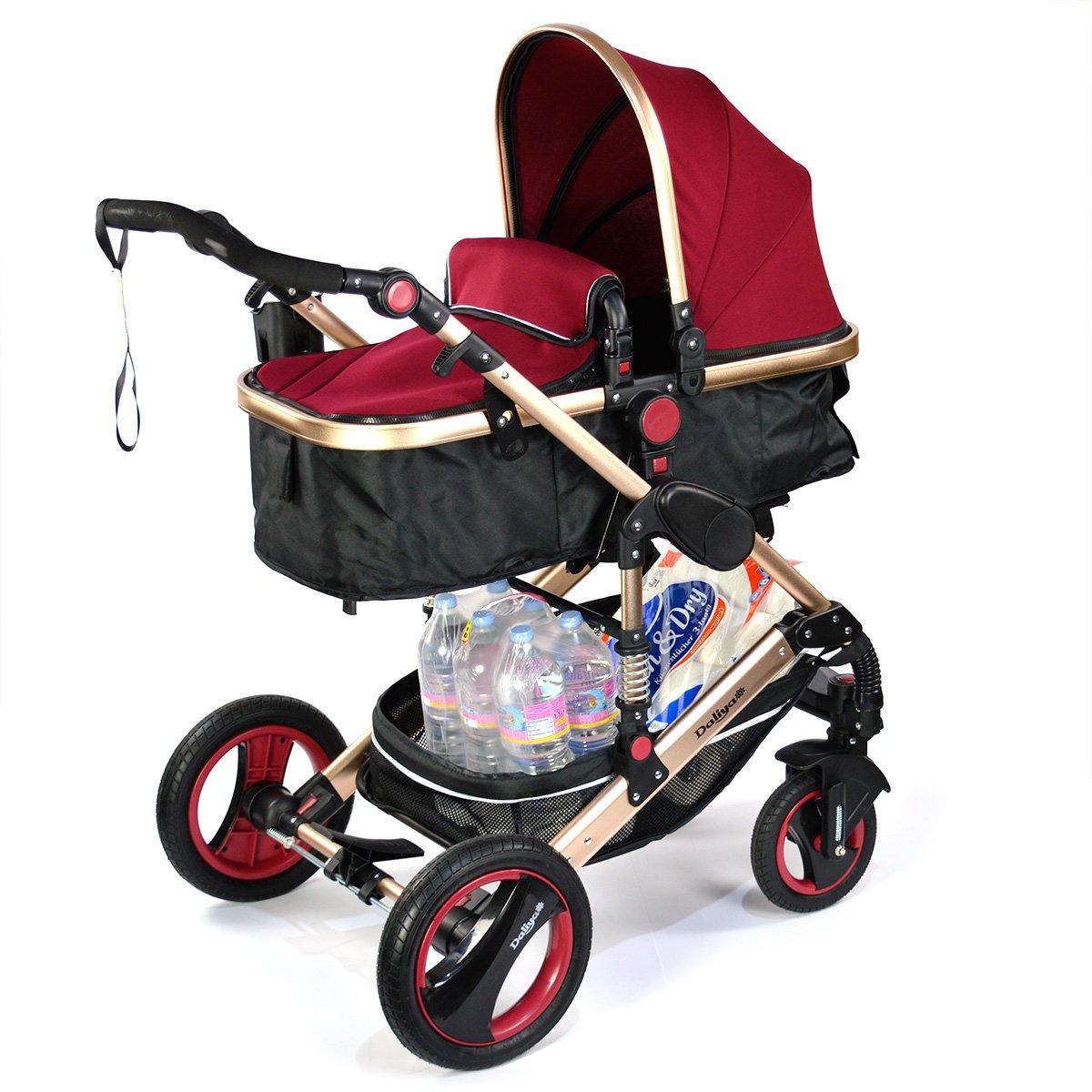 2 in 1 Kinderwagen Farbe Bordeaux Rot Schwarz - Bambimo - Kombi Kinderwagen - Buggy - Sportsitz - Babywanne - Aluminium Rahmen - Abnehmbare Reifen - Extra Größe Bereifung Daliya