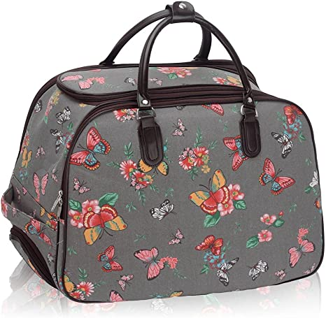 """26/"""" Pink Wheeled Holdall Suitcase Travel Flight Bag For Holiday Weekend Luggage"""