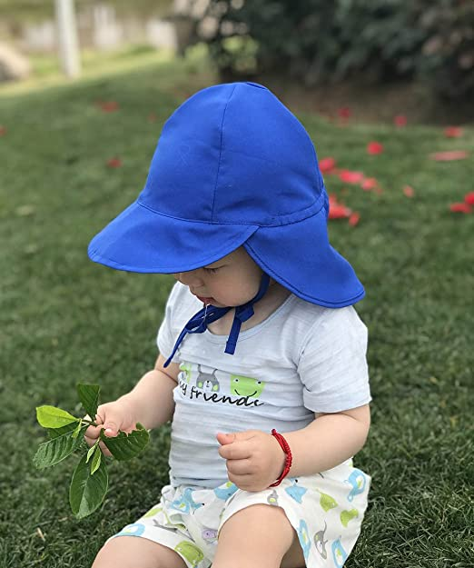 Baby Kids Sun Hat Toddlers Cartoon Summer Hats Infant Visor Caps with Chin Strap Neck Flap Boys Girls Adjustable Flat Cap Mesh Quick Dry Sun Ear Protection Cap Swim Beach Breathable Headwear for 1-3Y
