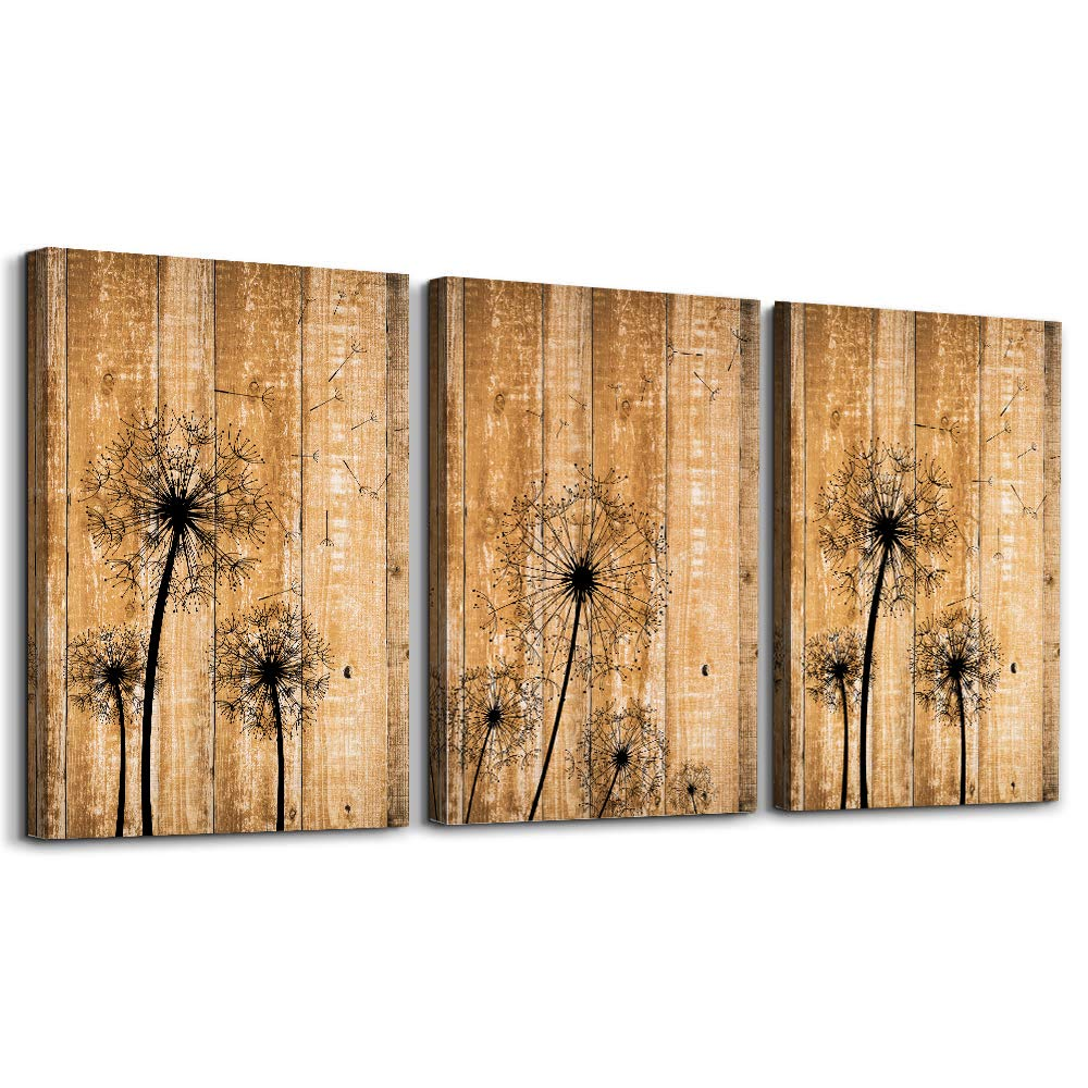 "modern Bathroom wall decoration for bedroom canvas wall art for living room kitchen works of art dandelion wood grain flowers Watercolor painting canvas prints office home decoration 12 ""x 16"" 3 piece"