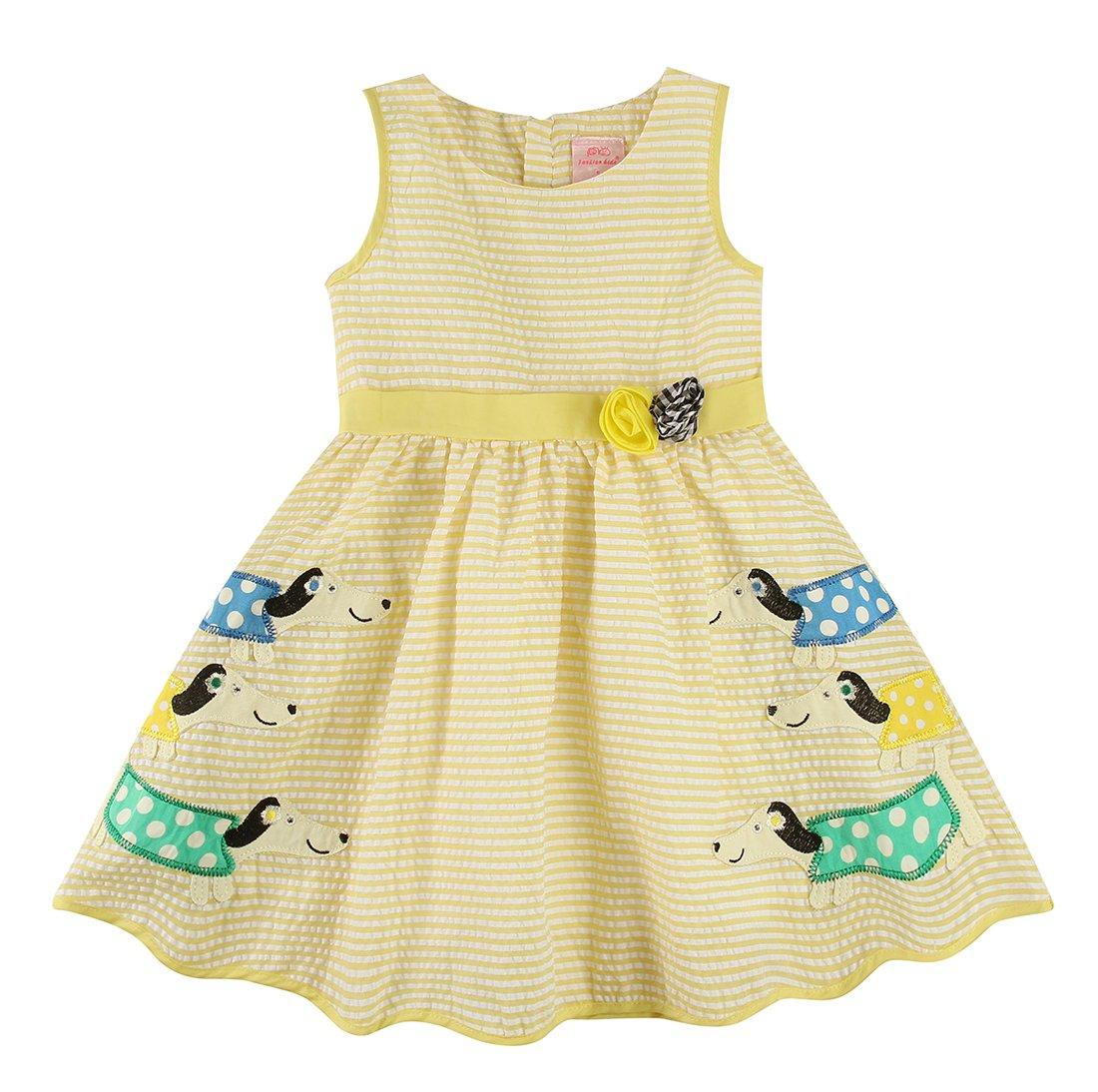 Sharequeen Little Girl's Dress Sleeveless Tank A-line Swing Dresses AB11239 (3-4 Years, Yellow Stripe(Rose))