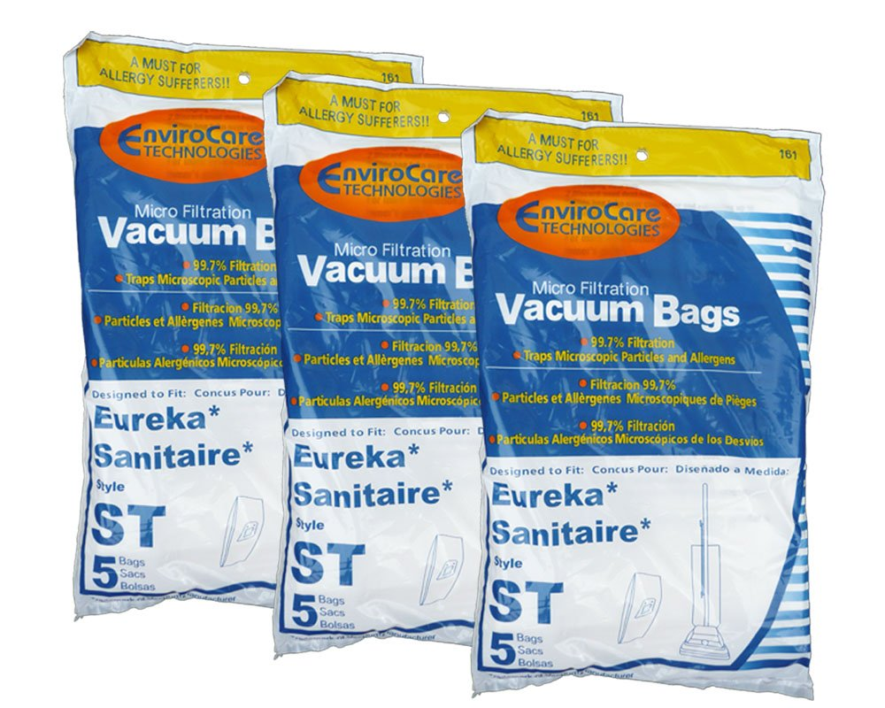 15 Eureka Sanitaire Type ST Vacuum Bags, Express, Power Team Canister, Home Cleaning System Vacuum Cleaners, 63213, 63213A, 63213-g5, 63213-10, S670D, S677D, SC678A, SC883A, SC888J, EUR 678, EUR 688, EUR 888