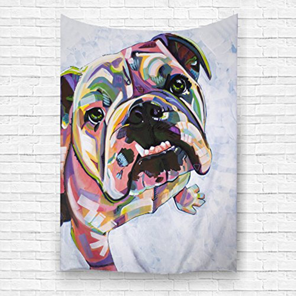 QH Home Decoration Funny Bull Dog 40''W x 60''H/100cm150cm Home Decoration Wall Tapestry Hanging – Light-weight Polyester Fabric Wall Decor (4)