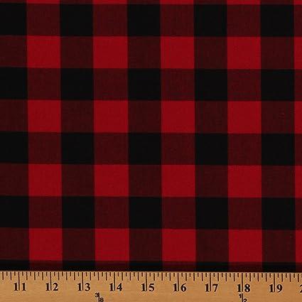 c36f747ca6a Amazon.com: Cotton Carolina Gingham Buffalo Check Scarlet Red Black Cotton  Fabric Print by the Yard (P-9811-93)