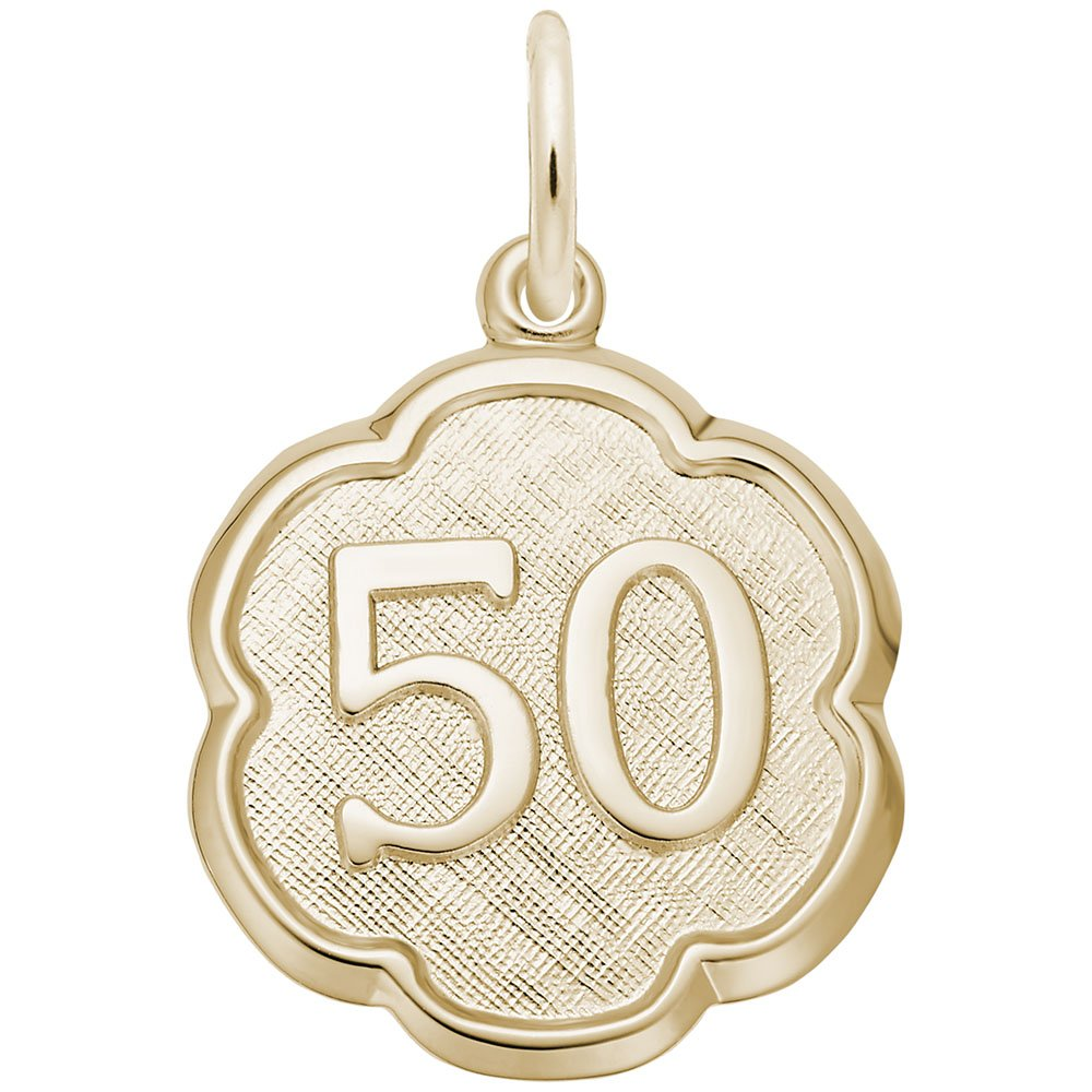 Number 50 Charm In 14k Yellow Gold, Charms for Bracelets and Necklaces