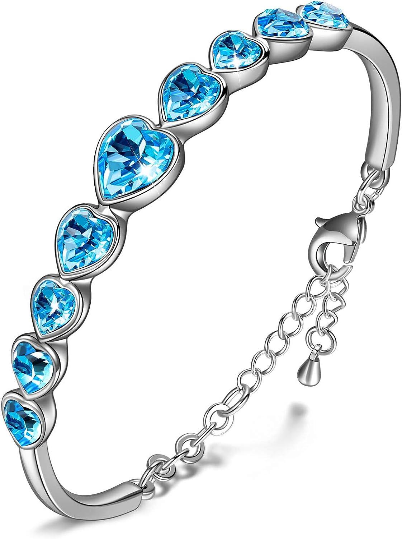 Kami Idea Pulsera Mujer - Viajar de Amor - Pulsera con Cristales de Corazón Azul, Cristales de Swarovski, Joyas para Mujer, Paquete de Regalo