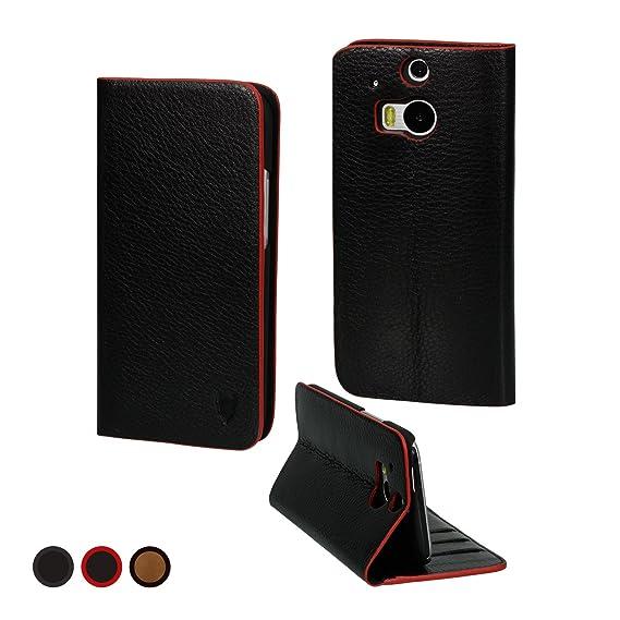 MediaDevil HTC One M8 (2014) Lederhülle (Schwarz/Rot) - Artisancover Hülle aus echtem europäischen Leder mit integriertem Sta