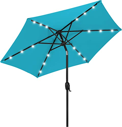 Best Choice Products 7.5ft Outdoor Solar Market Table Patio Umbrella