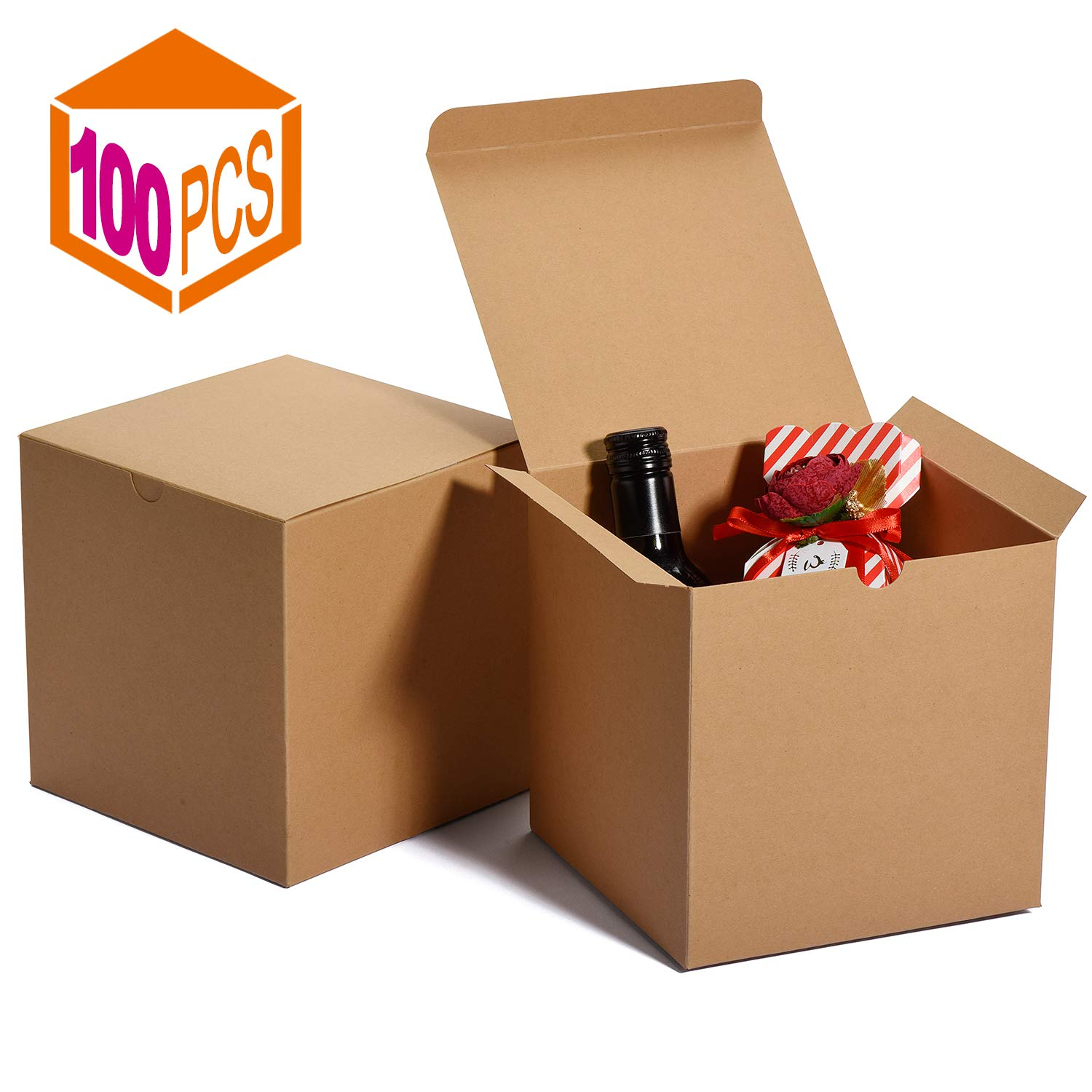 MESHA Kraft Boxes,Brown Gift Boxes 6 x 6 x 6 inches, Paper Gift Boxes with Lids for Gifts, Crafting, Cupcake Boxes (100) by MESHA