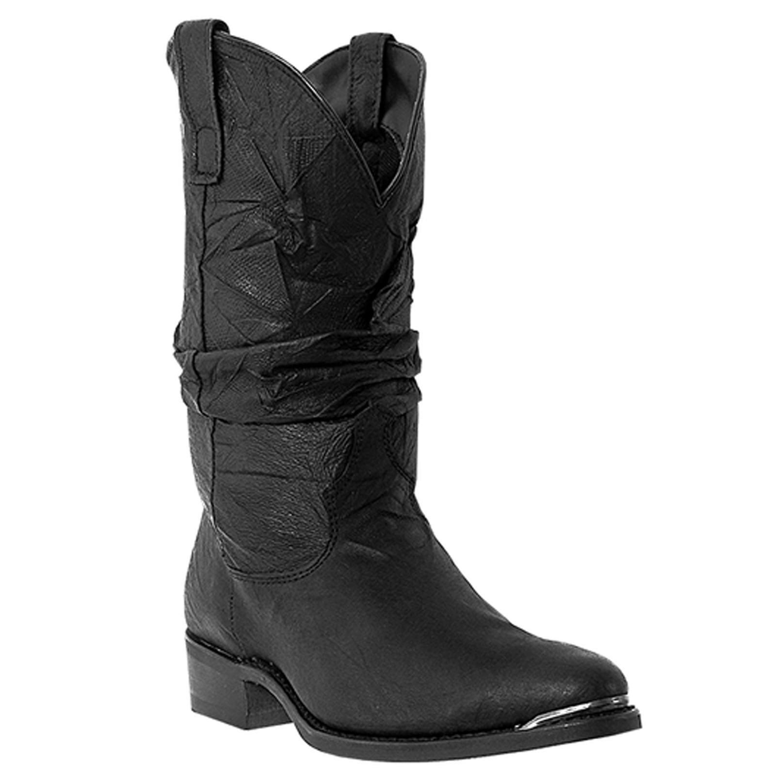 Dingo Mens Black Pigskin Leather Amsterdam 11in Round Toe Cowboy Boots 14 EW