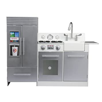 Teamson Kids Chelsea Play Kitchen, Silver / White, Small: 27.75 X 11.13 X