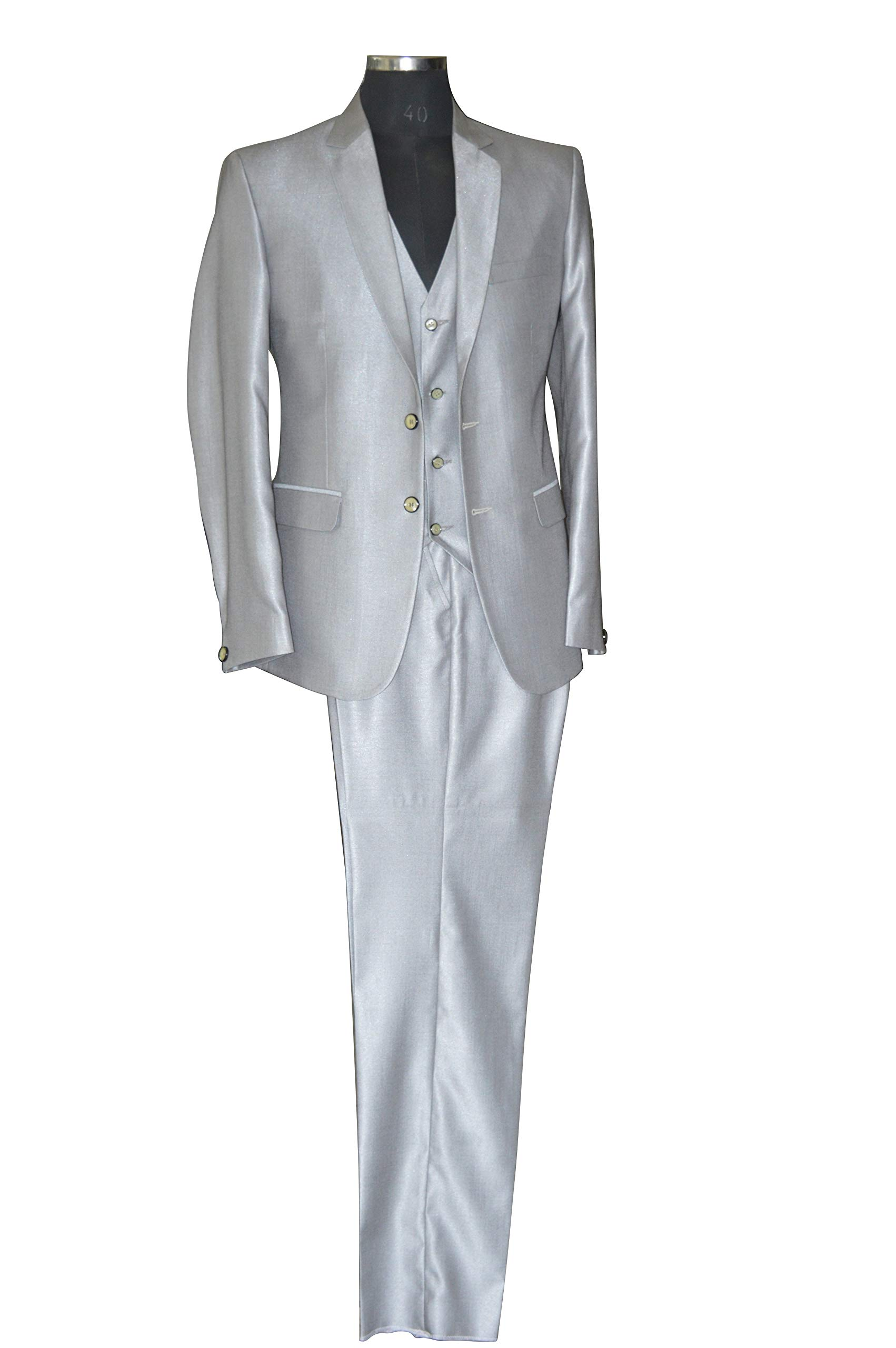 Mens Grey Formal Ideal Suit for Weddings 40'' Jacket 34'' Trouser