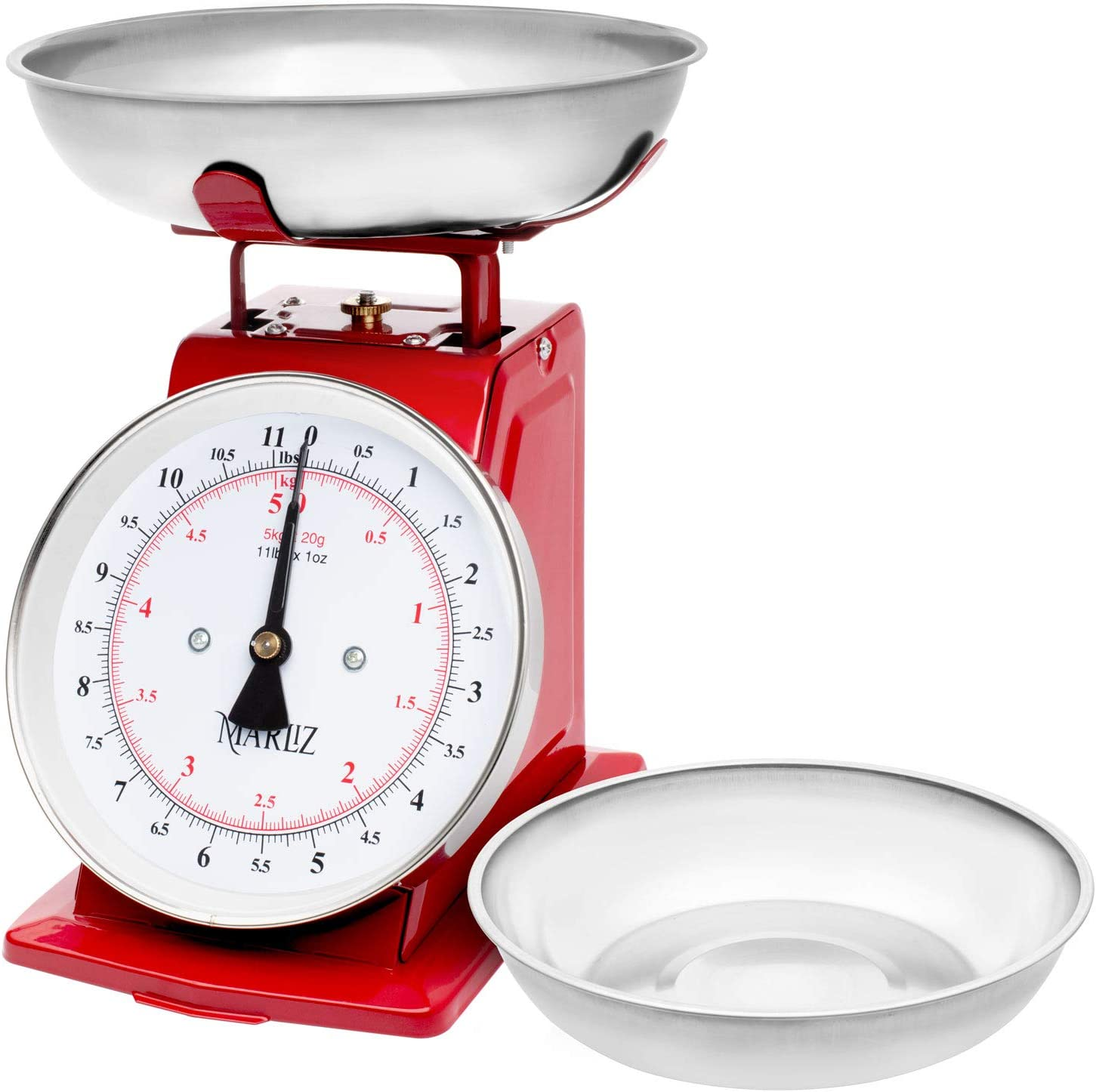 MARLIZ 11 lb/ 5Kg mechanical food scale for kitchen| analog kitchen scale with 2 bowls grams and ounces |balanza di cocina food weight scales red| meat scale small kitchen scale