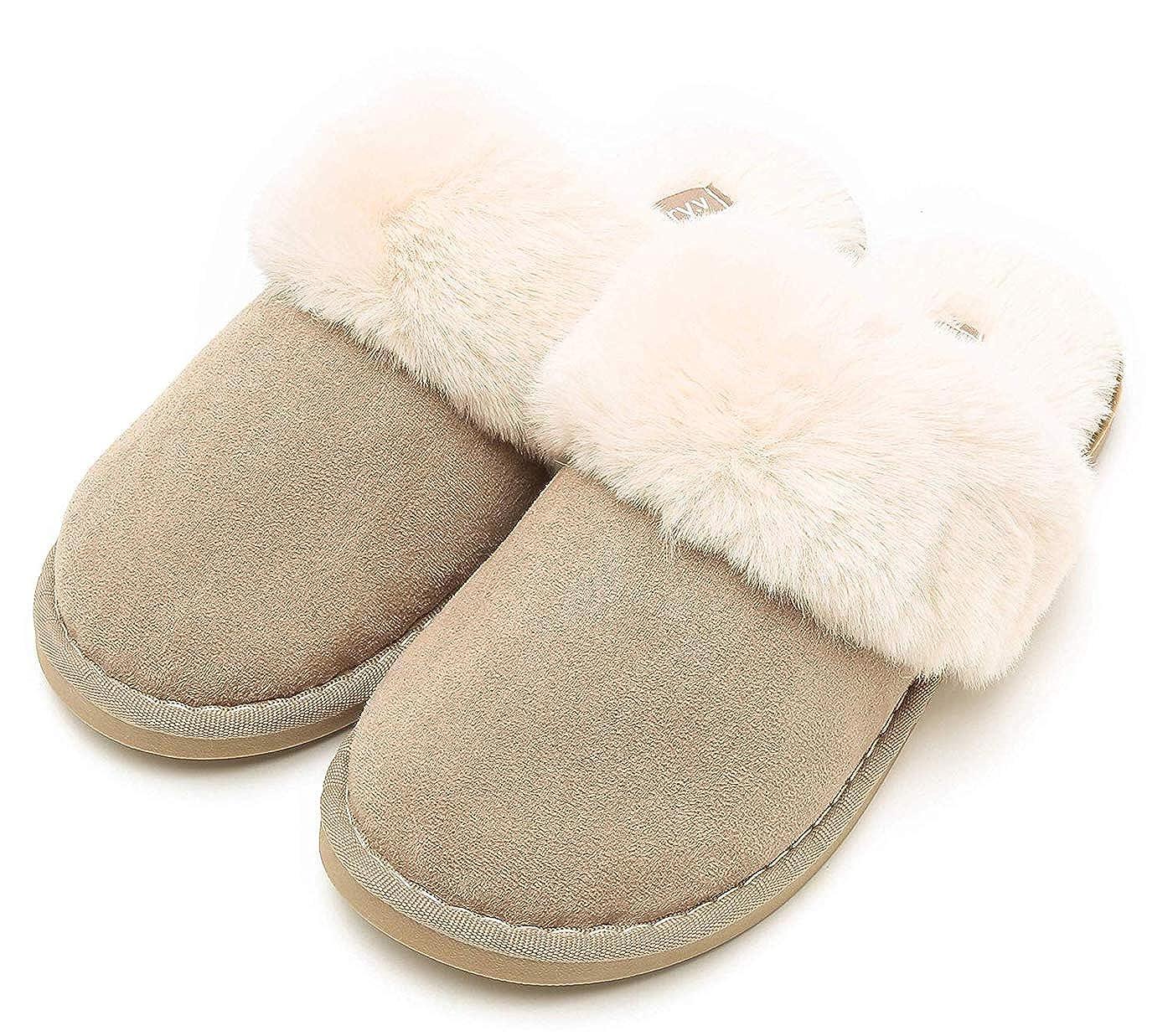 e63eeb68f227a Amazon.com | Womens Slippers Memory Foam Fluffy Warm Non-Slip ...