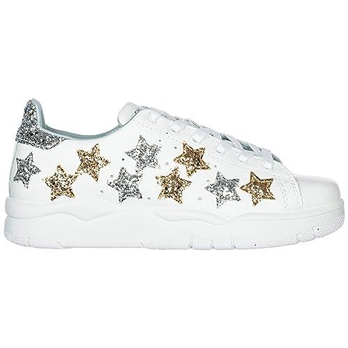 f22329df19719 Chiara Ferragni Scarpe Sneakers Donna in Pelle Nuove Star Bianco EU 40  CF2071  Amazon.it  Scarpe e borse