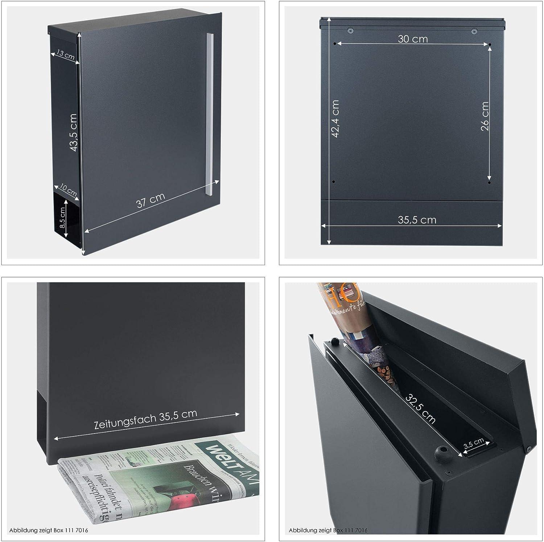Wandbriefkasten Postkasten DB 703 Design-Briefkasten MOCAVI Box 110 mit Zeitungsfach 12 Liter grau
