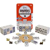 Regal Games Double 12 Colored Dot Dominoes Mexican Train Game Set with Wooden Hub, 91 Domino Tiles, 4 Metal Trains, and…