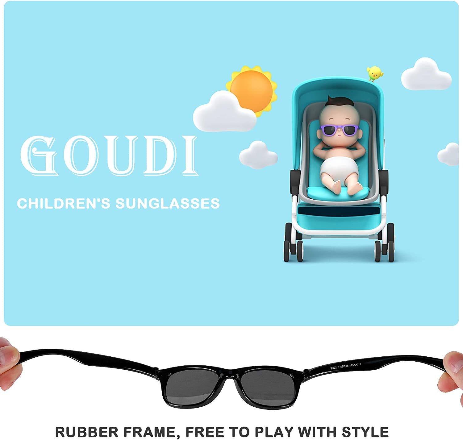 Kids Polarized Boys Girls Sunglasses-GOUDI Rubber Fashion For Children Sports Sunglasses Rubber Frame Age 2-10