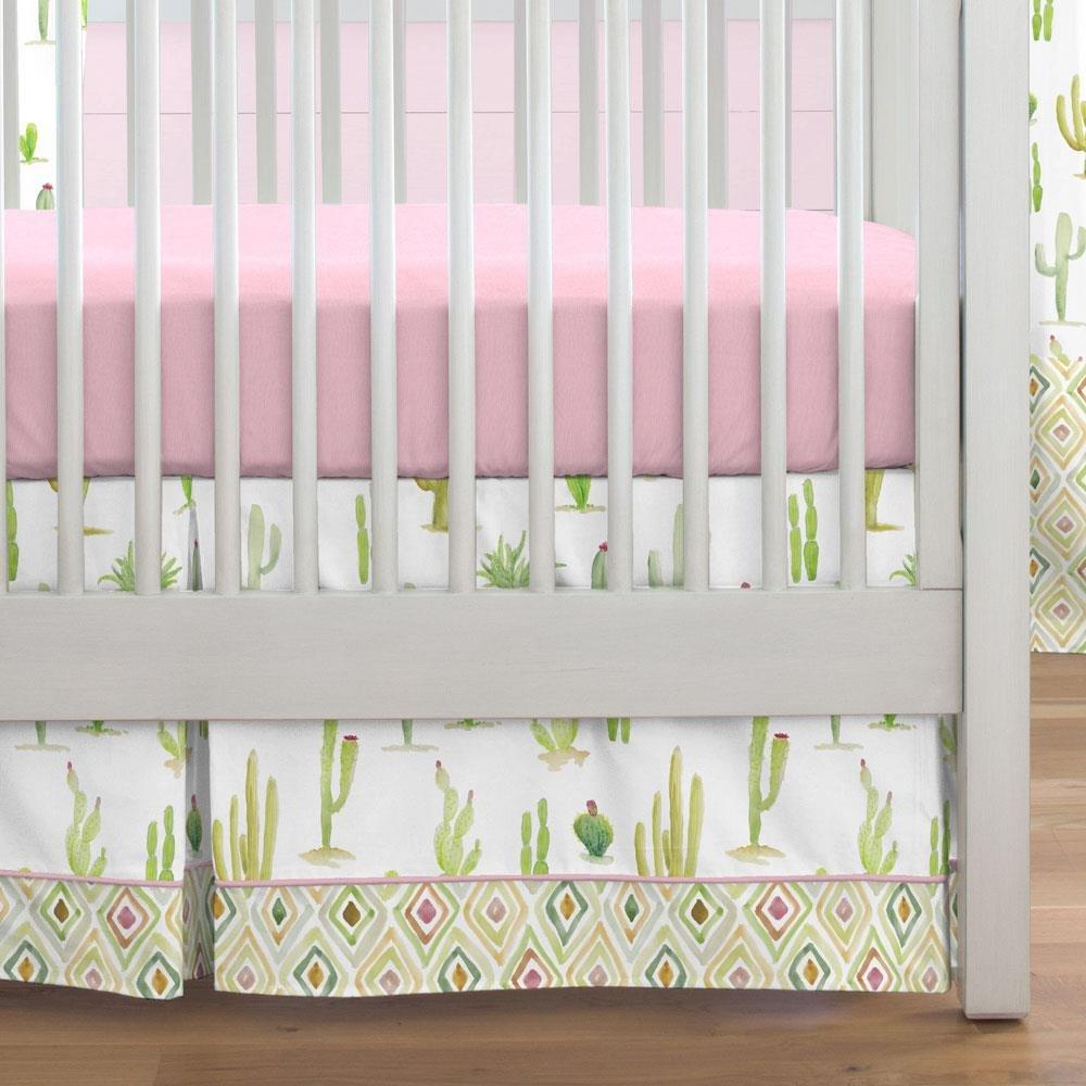 Carousel Designs Watercolor Cactus Crib Skirt Box Pleat 20-Inch Length