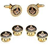 Cuff-Daddy Freemason Crystal Gold Tone Masonic Formal Set Cufflinks and Studs with Presentation Box
