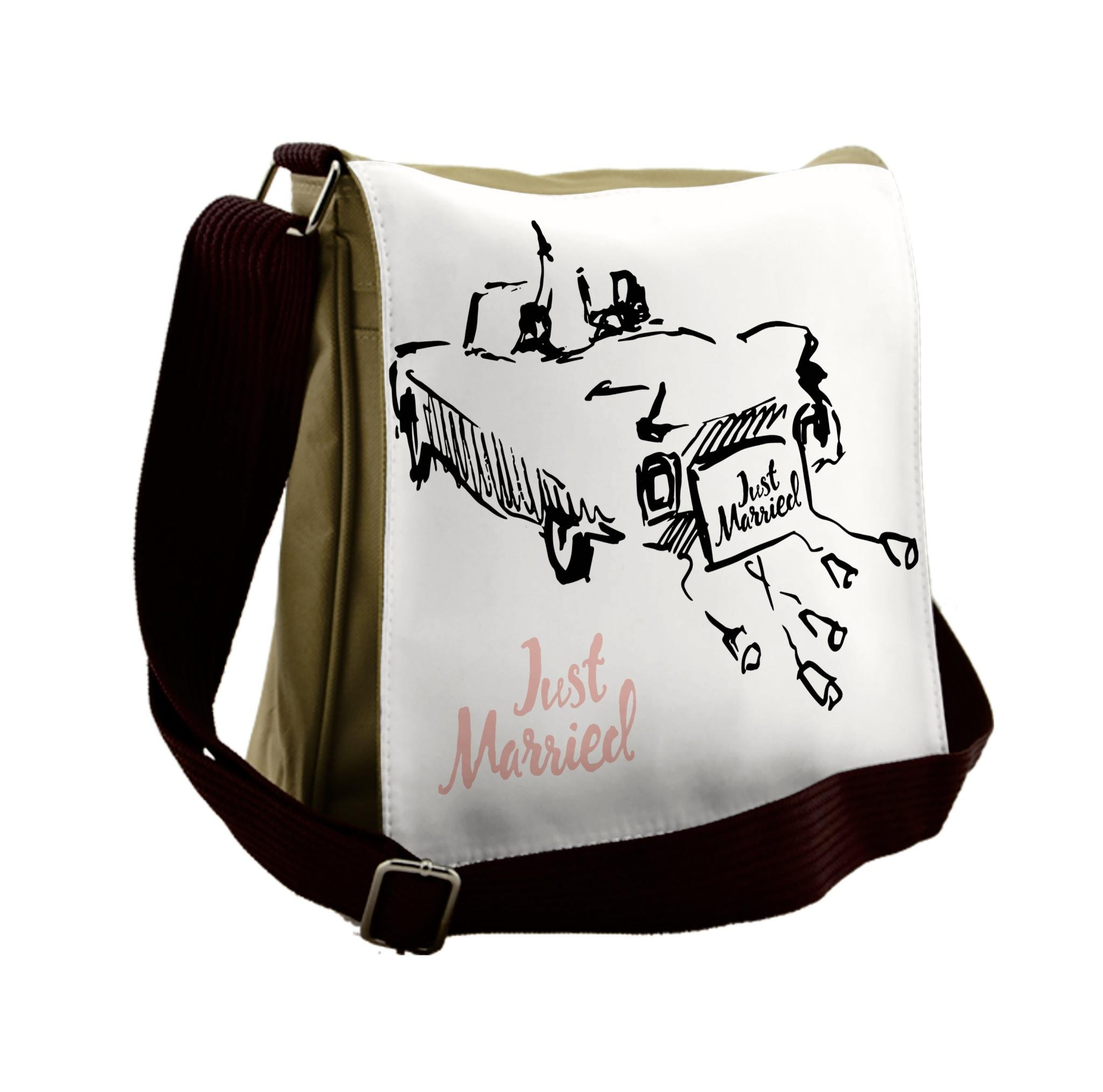 Lunarable Wedding Messenger Bag, Traditional Car Tin Cans, Unisex Cross-body
