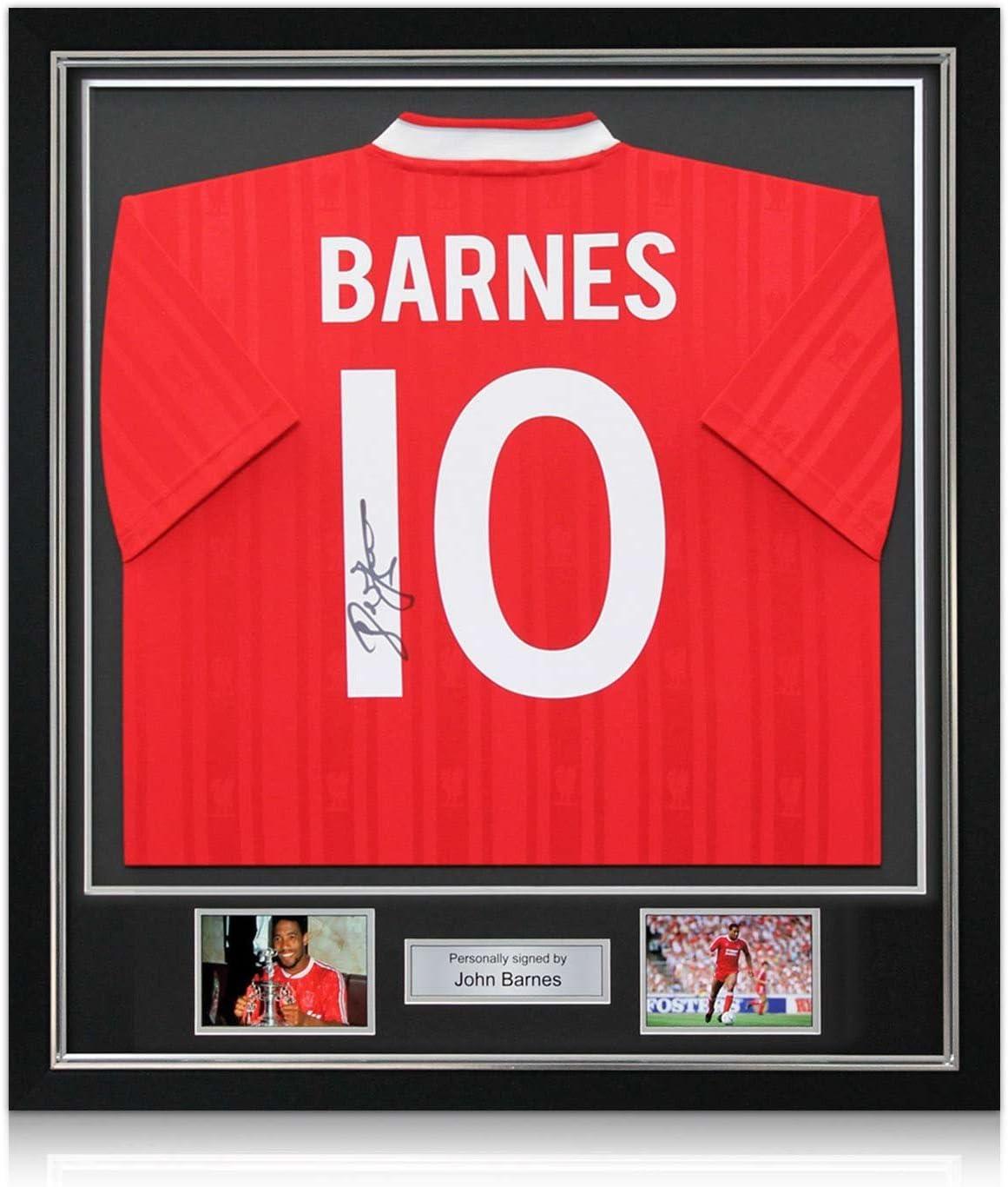 John Barnes Liverpool firmada 1987-1988 camisa casera: Número 10. En Deluxe Negro Marco Con embutido de la plata: Amazon.es: Deportes y aire libre