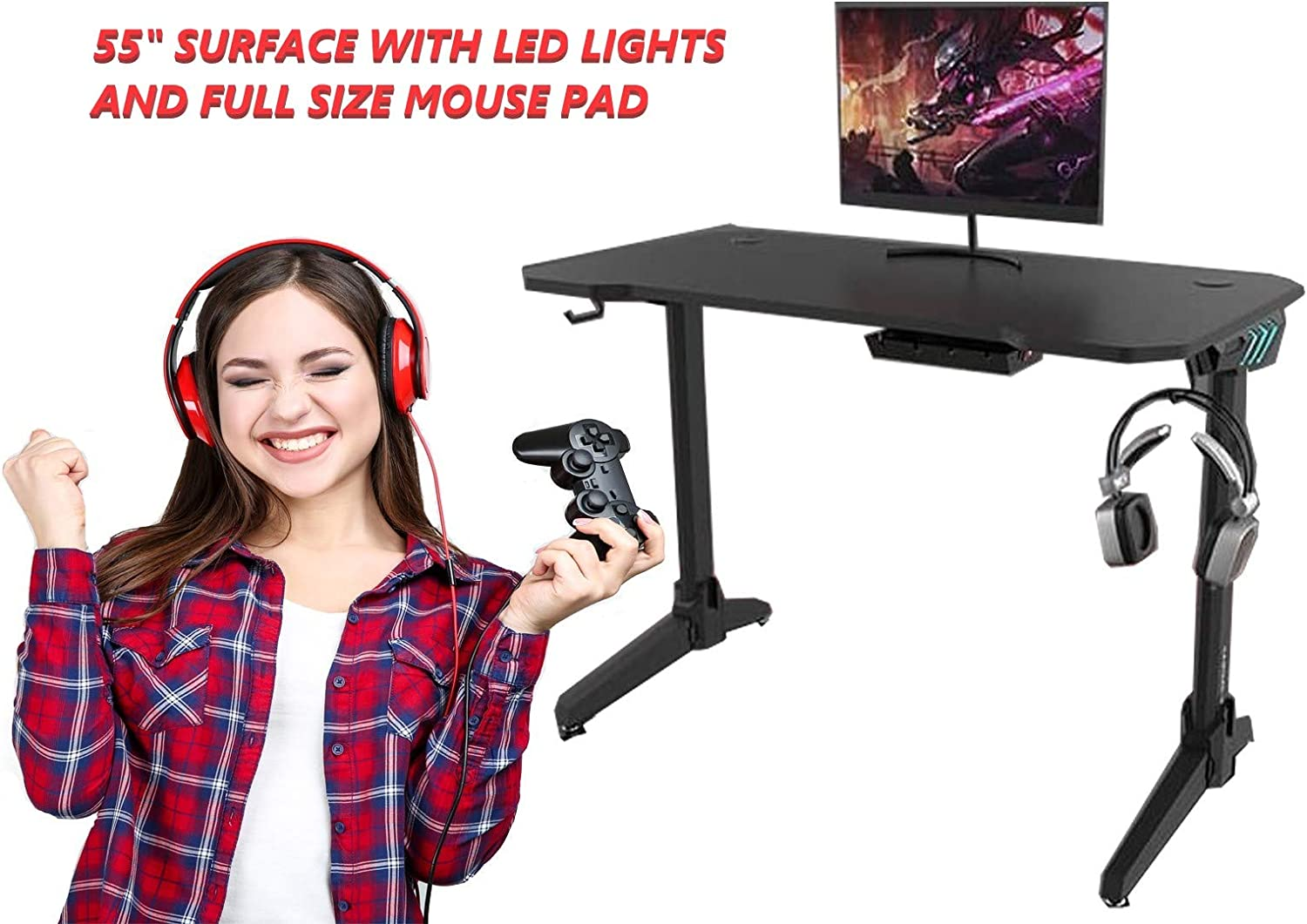 "OCD By Design Gaming Computer Desk or Computer Gaming Desk 55"" Wide Large Office Table, Pro PC Video Gamer Desk, Multi Colored LED Lights,Carbon Fiber Surface,Mouse Pad, Headphone, cup holder"