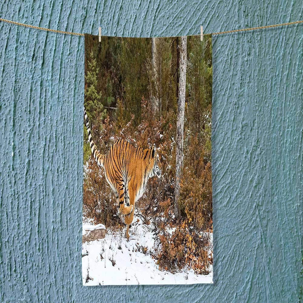 SOCOMIMI Super Absorbent Towel Bengal Tiger in Snowy Jungle Hunting and Cruising for Prey Furry Majestic Mammal Ideal for Everyday use