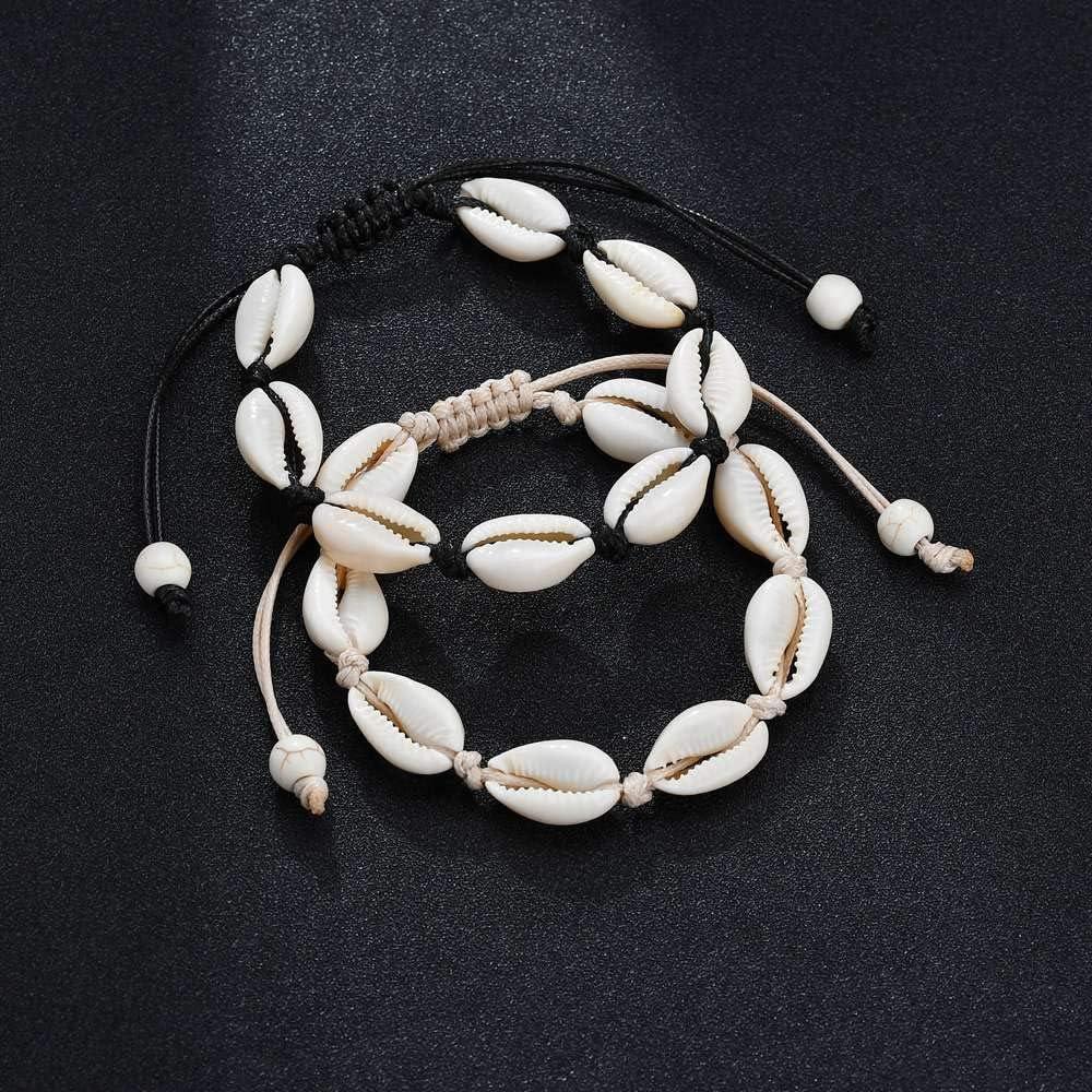 SANDIN 1 Pieces Bracelet Coquillage Femme Cheville Bresilien Bracelet Coquille Naturelle Boh/ème Charm Cowrie Shells Bijoux