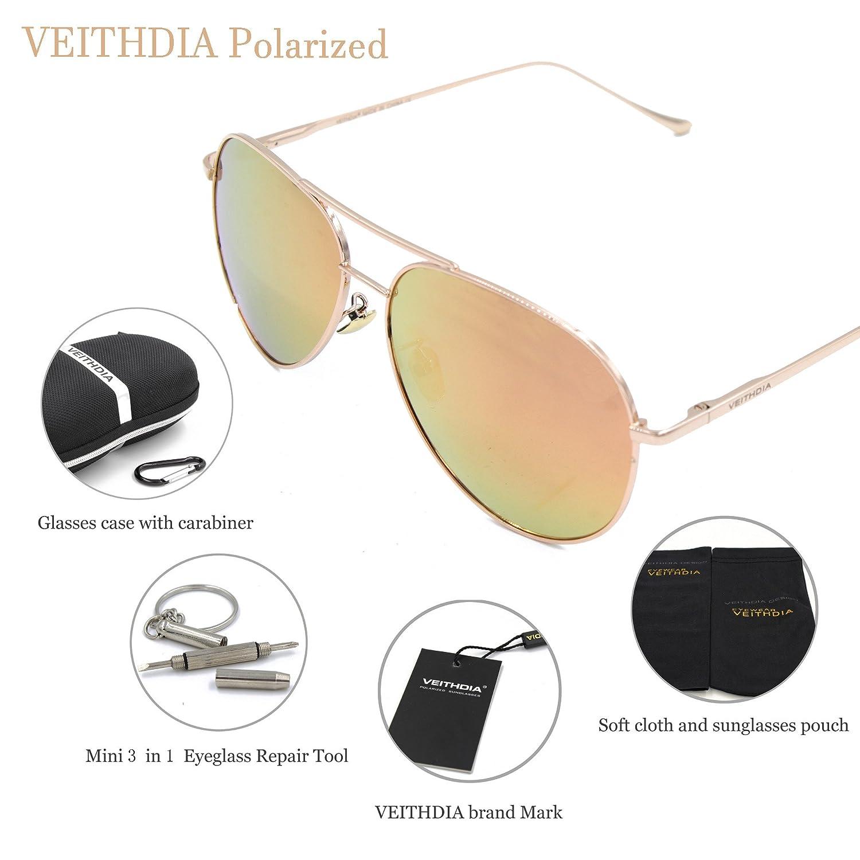 VEITHDIA 3360 nueva alta calidad Classic HD Ajustable polarizadas Aviator Gafas de sol 100% protección UV: Amazon.es: Ropa y accesorios