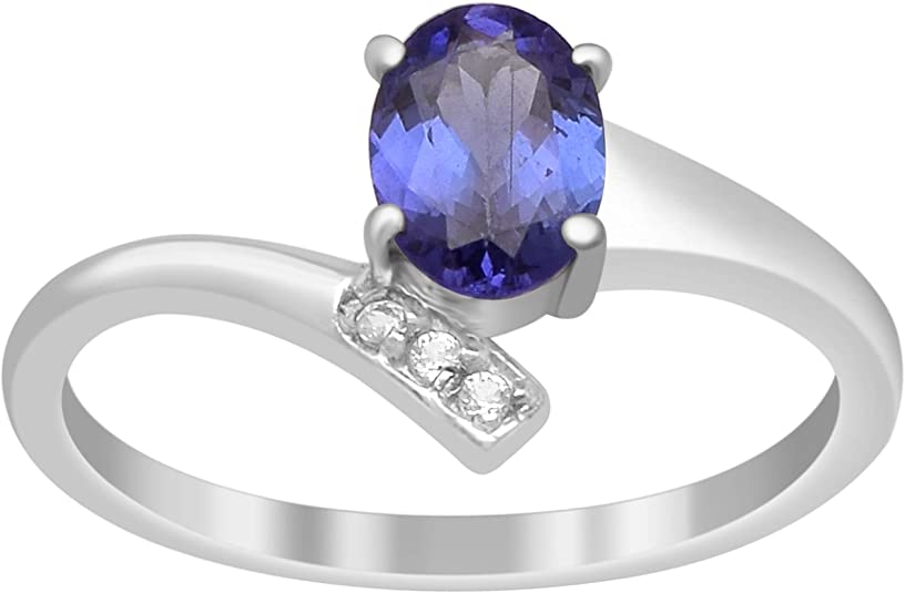 Natural Oval Tanzanites /& Round Pink Tourmaline Flower Ring 925 sterling Silver