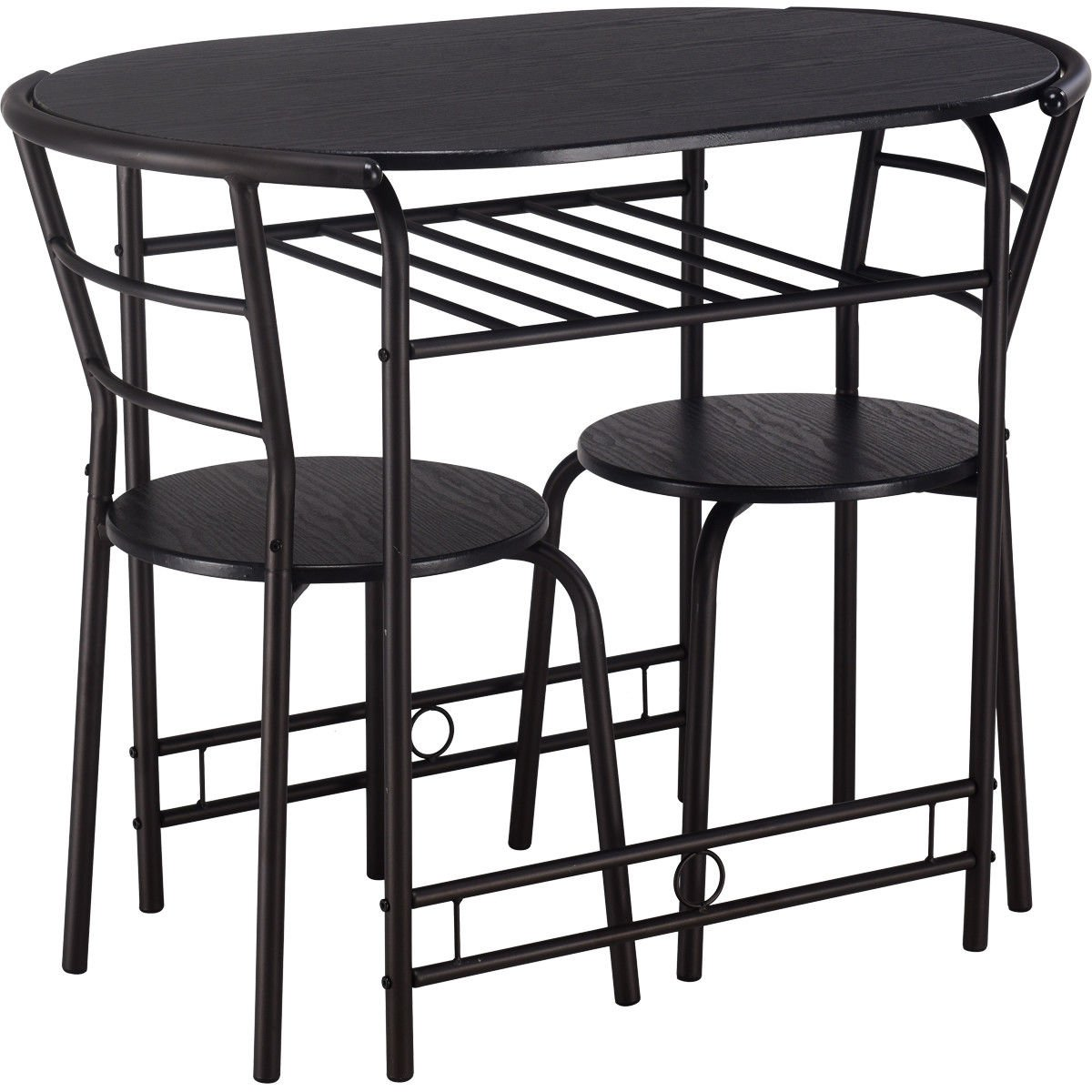 Giantex 3 PCS Dining Table Set w/1 Table and 2 Chairs Home Restaurant Breakfast Bistro Pub Kitchen Dining Room Furniture (Black) by Giantex (Image #8)