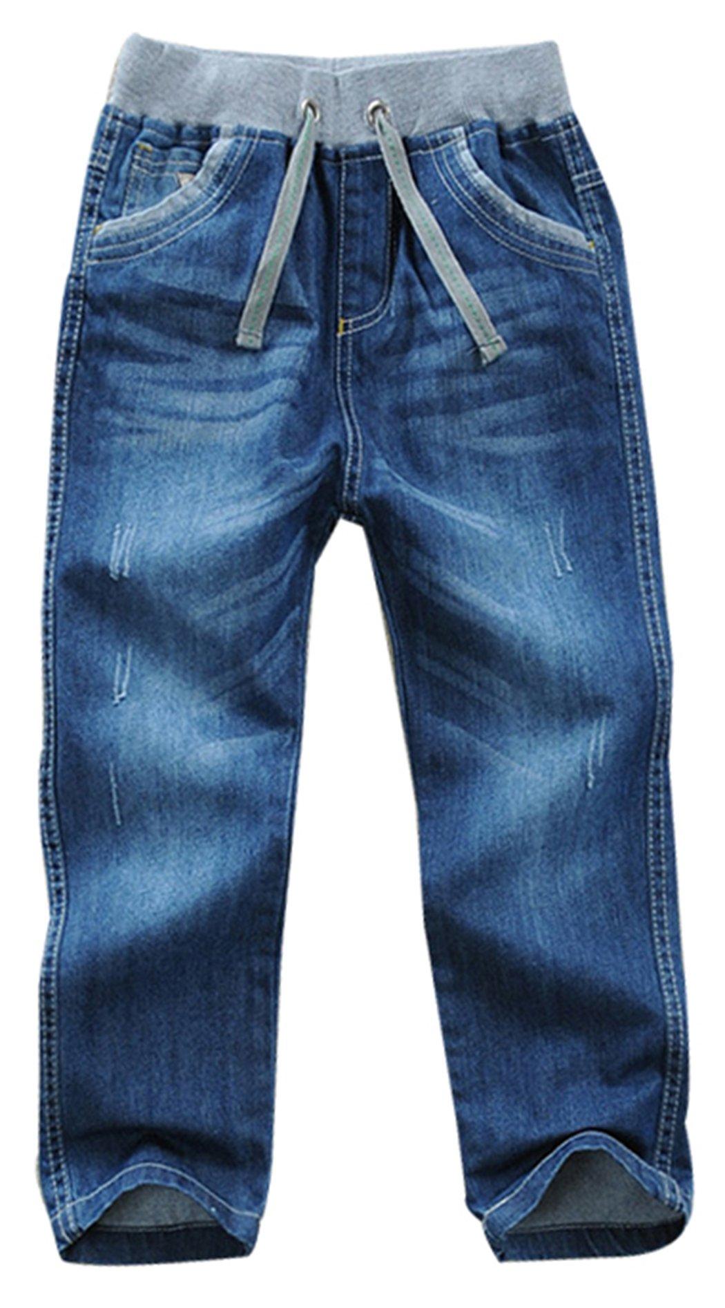 Toddler Youth Boy Washed Elastic Mid Waist Full Length Regular Pants Denim Jeans(B,3 Years)