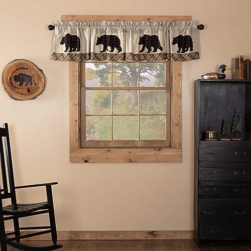 VHCBS Rustic Lodge Kitchen Window Wyatt Tan Bear Curtain
