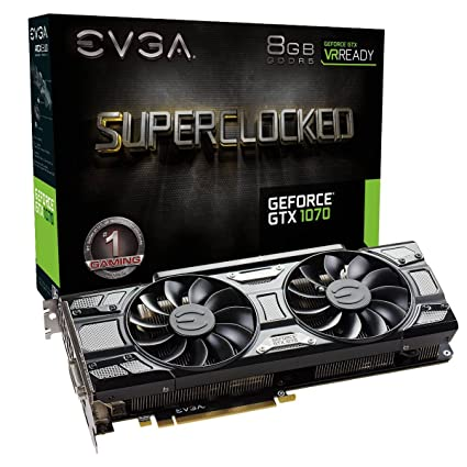 Evga GeForce GTX 1070 SC Gaming - Tarjeta Grafica (8 GB, GDDR5, ACX 3.0) Color Negro