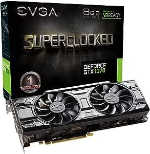 EVGA GeForce GTX 1070 SC GAMING ACX 3.0 Black Version, 8GB GDDR5 LED, DX12 OSD Support (PXOC) 08G-P4-5173-KR