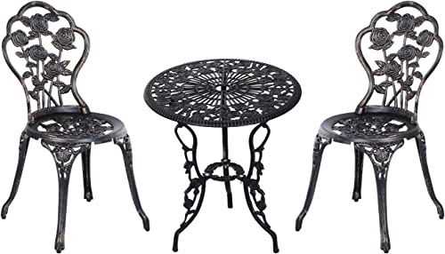 Outsunny 3 Piece Antique Style Outdoor Patio Bistro Dining Set