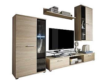 Wohnwand Salsa Design Mediawand Modernes Wohnzimmer Set Anbauwand Hangeschrank Vitrine Tv Lowboard Ohne Beleuchtung Sonoma Eiche