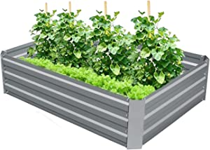 4W Raised Garden Bed Galvanized Steel Planter Box Outdoor Metal Garden Bed Kit for Vegetable, Herbs, Flowers, and Much More - 4x3x1ft