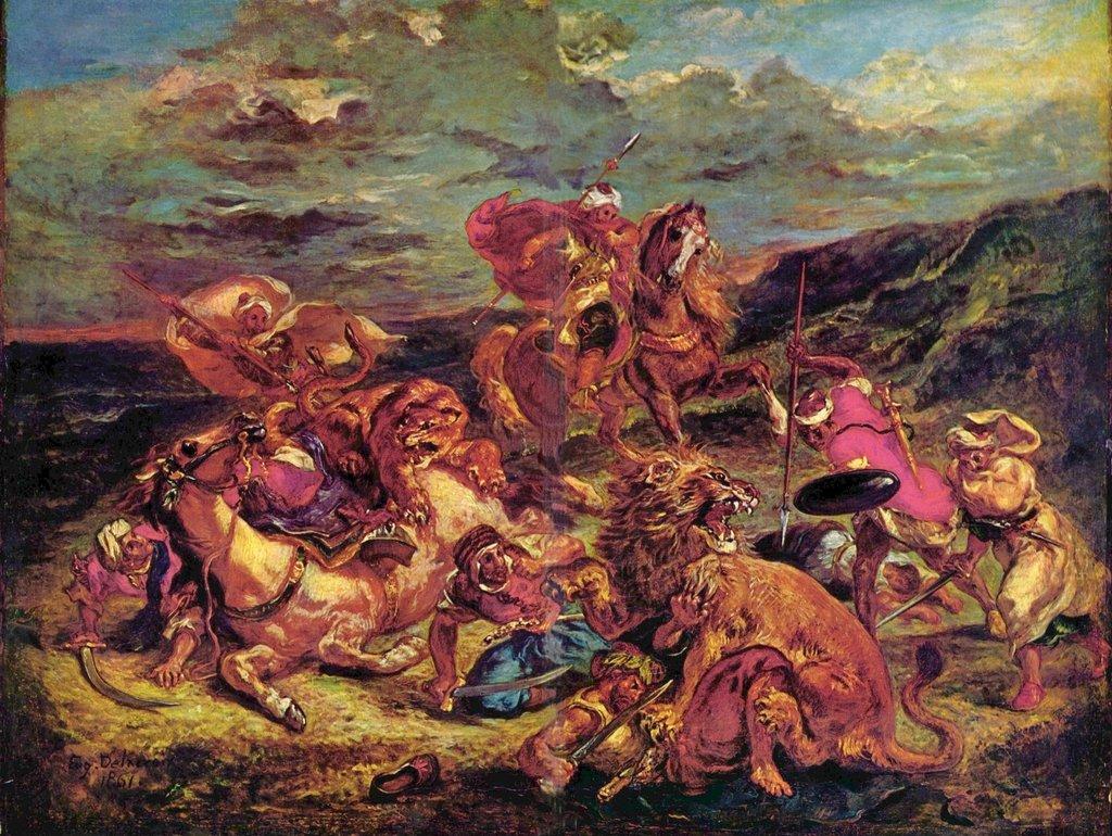 Lais Puzzle Eugène Ferdinand Victor Delacroix - Löwenjagd 2000 Teile