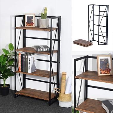 Framodo 4-Tier Folding Bookcase Shelf Organizer, No-Assembly Sturdy Foldable Rustic Stand Storage Shelves