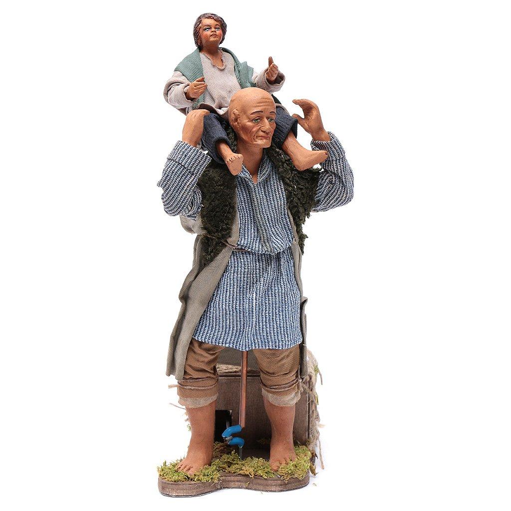 Animated Neapolitan Nativity figurine Man with child on shoulders 24cm