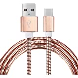 Ausexy 1M Soft Metal USB-C USB 3.1 Type C Data Charge Charging Cable for Nokia N1 Tablet,Google Pixel XL,Motorola Moto Z,ZTE Zmax Pro Z981,MSI Gaming Notebooks (Rose Gold)