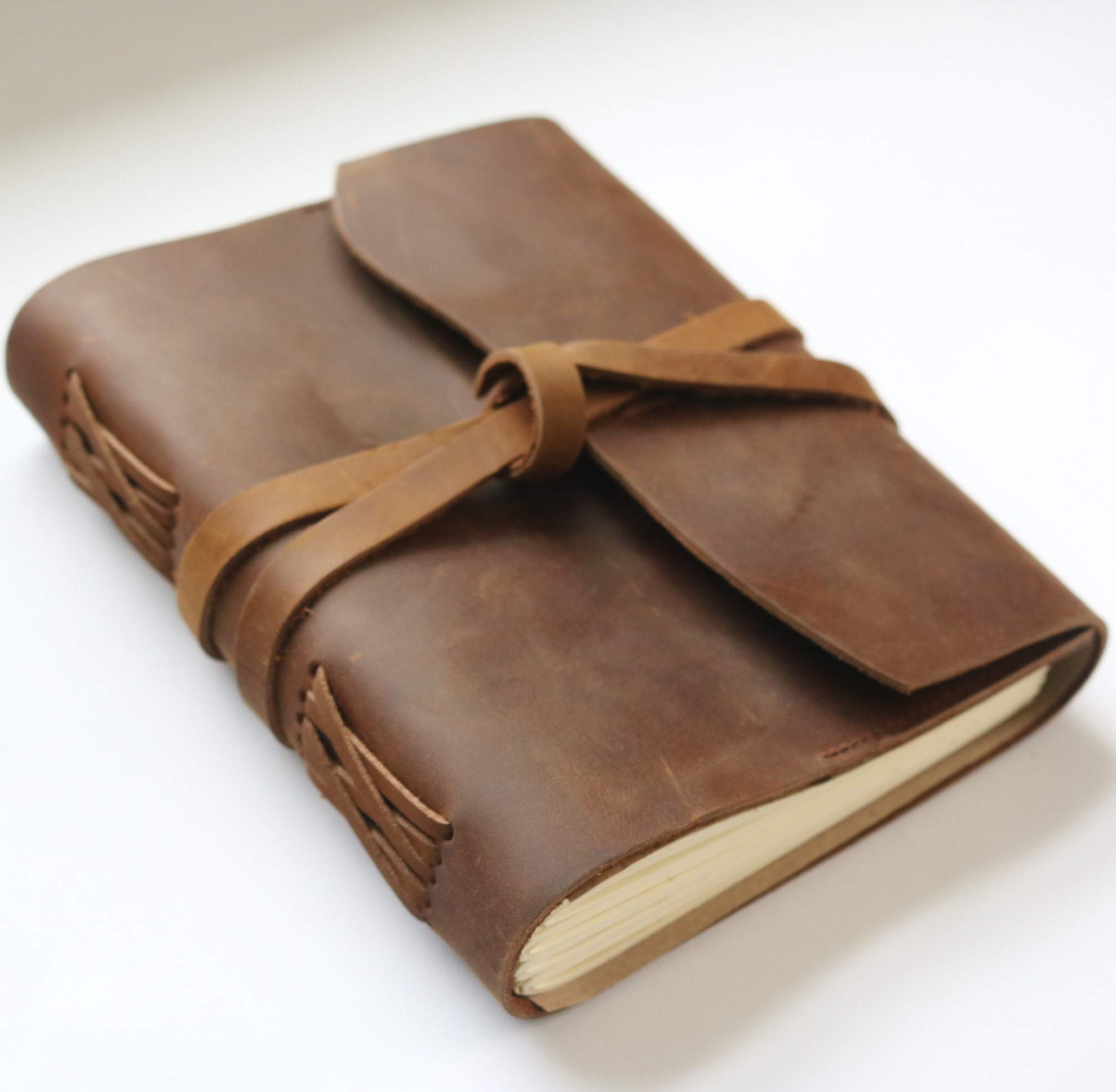 Handmade Leather Journal Notebook with Pocket, Bookmark Ribbon and Pen Holder-Antique Aged Leather Sketchbook for Writing, Drawing, School and Work