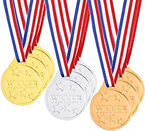 Caydo 24 Pieces Winner Medals, Gold, Silver and Bronze Medals for Party Favor Decorations and Awards