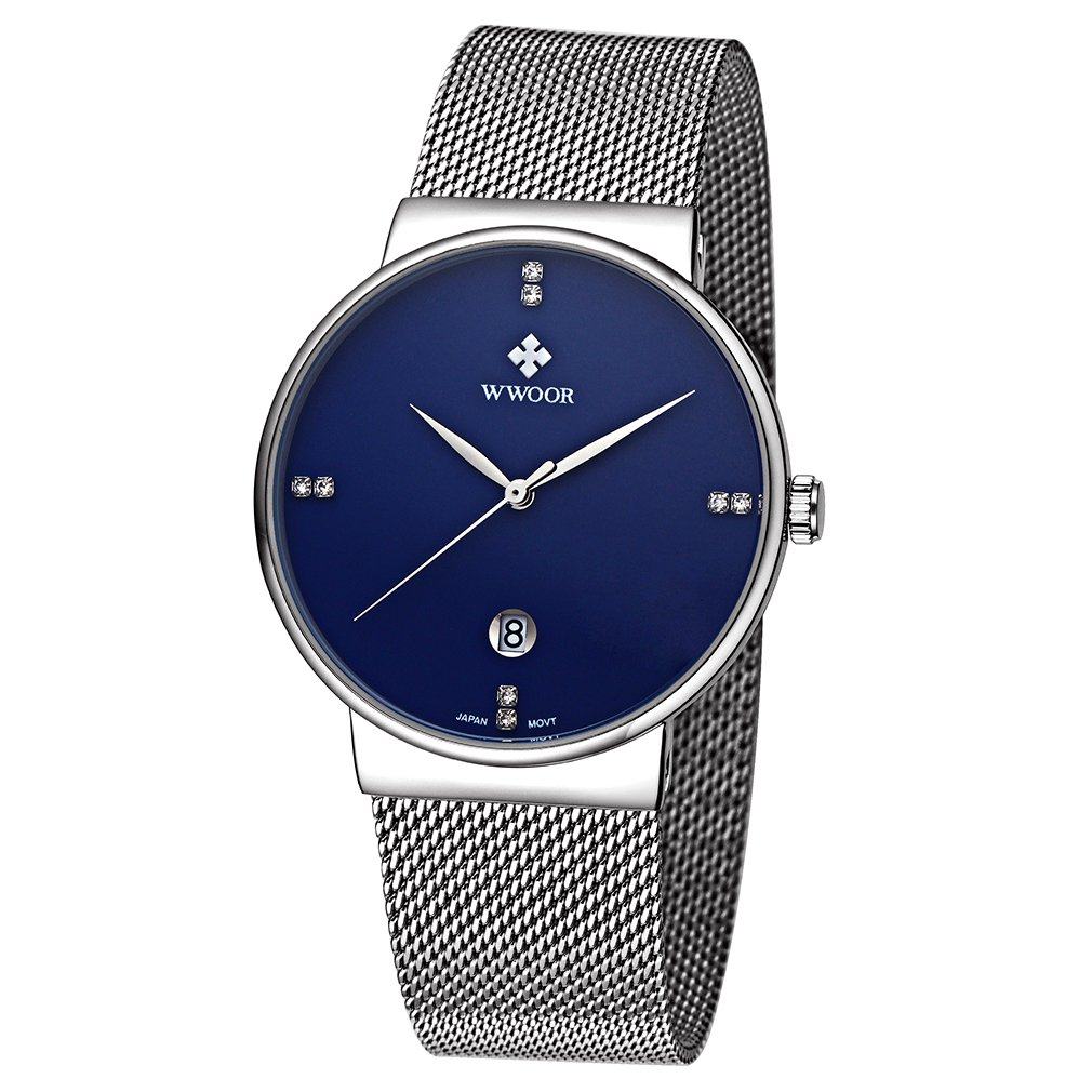 WWOOR Gent Casual Date Quartz Wrist Watches Mesh Stainless steel Band Waterproof Watch For Men Elite Ultra Thin Clock WR18 (Blue)