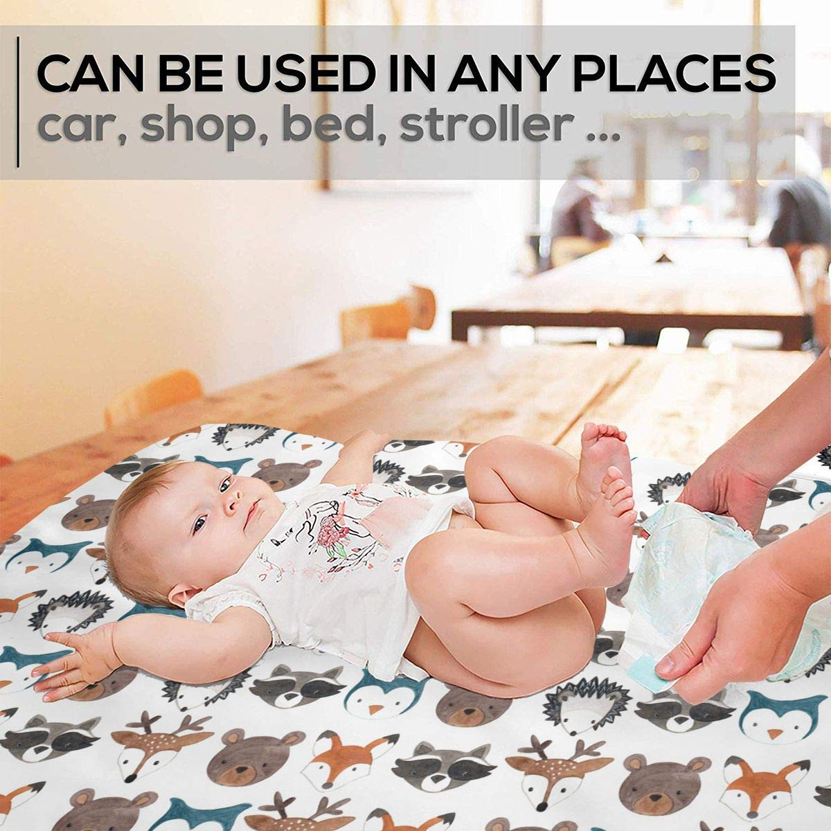 Premium Baby Diaper Changing Pads for Infant Woodland Creatures Waterproof Portable Incontinence Pads Sanitary Mats Great for Travel//Stroller//Bed//Car
